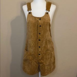 Button up overall shorts
